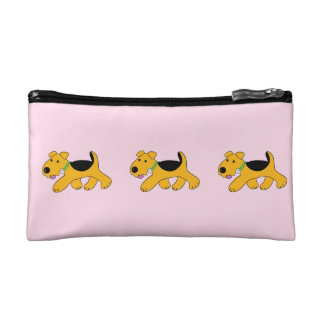Cute Kawaii Airedale Trotting Puppy Makeup Case
