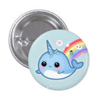 Cute kawaii baby narwhal with rainbow pinback button