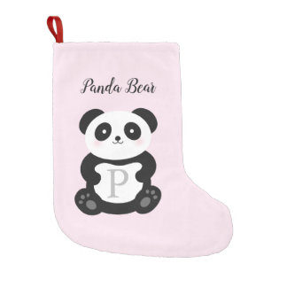 Cute Kawaii Baby Panda Bear Whimsical Monogram Small Christmas Stocking