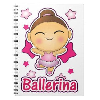 Cute Kawaii Ballerina doing ballet Spiral Notebook