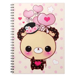 Cute kawaii bear and pink balloons notebooks