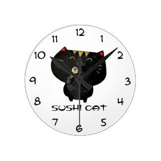 Cute Kawaii Black Sushi Cat Wall Clock