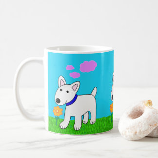 Cute Kawaii Bull Terrier Dog w Flower Mug