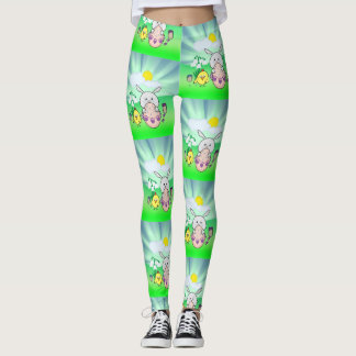 Cute Kawaii Bunny and chick Happy Easter pattern Leggings