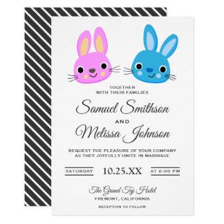 Cute Kawaii Bunny Rabbit Wedding Invitation