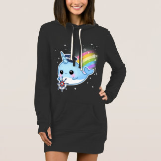 Cute kawaii captain narwhal with rainbow dress