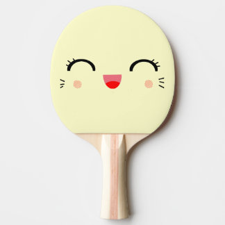 cute kawaii cartoon happy smiley face Ping-Pong paddle