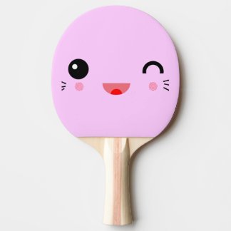 cute kawaii cartoon happy smiley face ping pong paddle