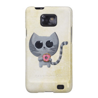Cute Kawaii Cat with Donut Samsung Galaxy S2 Cases