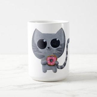 Cute Kawaii Cat with Donut Coffee Mug