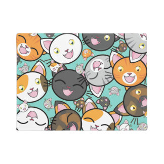 Cute Kawaii Cats Door Mat