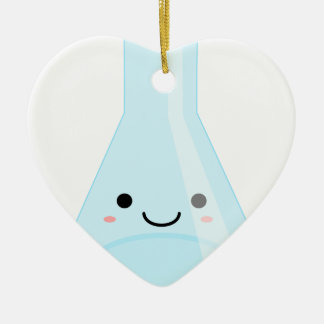 Cute Kawaii Chemistry Flask Ceramic Heart Ornament