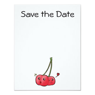 Cute kawaii cherries in love invitations