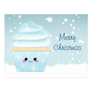 Cute Kawaii Christmas Snowflake cupcake Postcard
