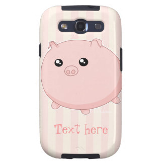 Cute Kawaii chubby pink pig Galaxy S3 Cover