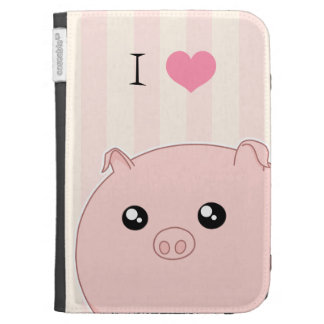 Cute Kawaii chubby pink pig Cases For The Kindle