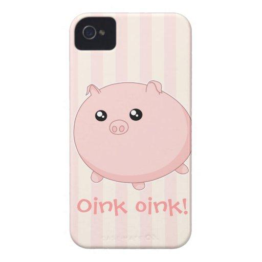 Cute Kawaii chubby pink pig iPhone 4 Cases