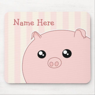 Cute Kawaii chubby pink pig Mouse Pad
