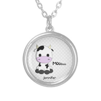 Cute kawaii cow cartoon name necklace