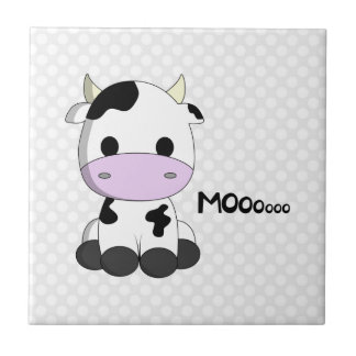 Cute kawaii cow cartoon on polka dots tile