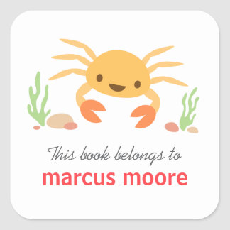 Cute kawaii crab animal cartoon bookplate square sticker