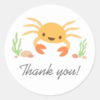 Cute kawaii crab animal cartoon thanks thank you classic round sticker