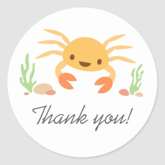 Cute kawaii crab animal cartoon thanks thank you round sticker