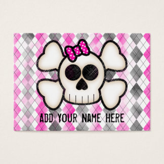 Cute Kawaii Emo Skull and Crossbones on Argyle Business Card