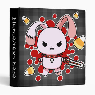 Cute Kawaii evil bunny with chainsaw 3 Ring Binder
