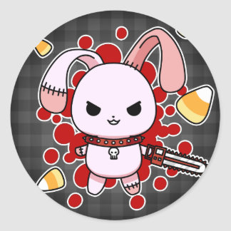 Cute Kawaii evil bunny with chainsaw Round Sticker