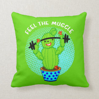 Cute Kawaii Feel The Muscle Smiling Cactus Plant Throw Pillow