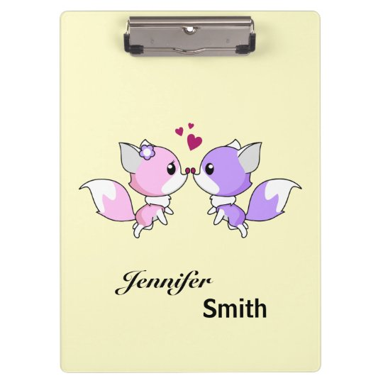 Cute kawaii foxes cartoon in pink and purple girls clipboard