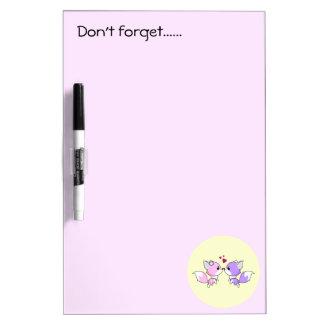 Cute kawaii foxes cartoon in pink and purple girls Dry-Erase whiteboard