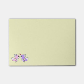 Cute kawaii foxes cartoon in pink and purple girls post-it® notes