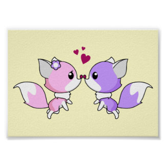 Cute kawaii foxes cartoon in pink and purple girls poster