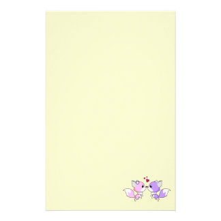 Cute kawaii foxes cartoon in pink and purple girls stationery