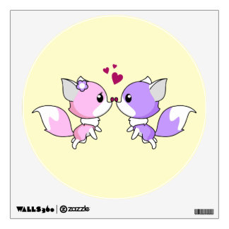 Cute kawaii foxes cartoon in pink and purple girls wall sticker
