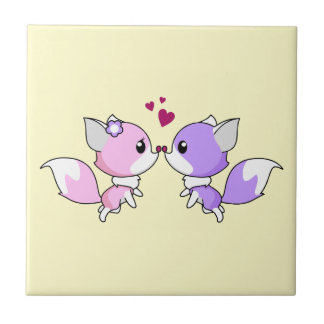 Cute kawaii foxes cartoon in pink and purple tiles