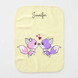 Cute kawaii foxes cartoon in pink purple name baby baby burp cloth