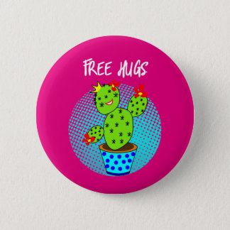 Cute Kawaii Free Hugs Smiling Cactus Plant Graphic 2 Inch Round Button