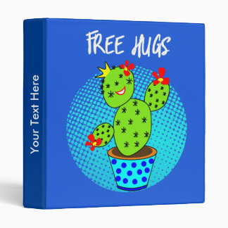 Cute Kawaii Free Hugs Smiling Cactus Plant Graphic 3 Ring Binder