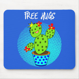 Cute Kawaii Free Hugs Smiling Cactus Plant Graphic Mouse Pad