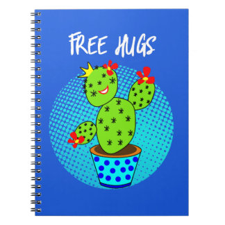 Cute Kawaii Free Hugs Smiling Cactus Plant Graphic Notebook