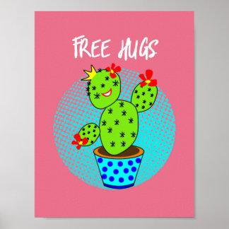 Cute Kawaii Free Hugs Smiling Cactus Plant Graphic Poster