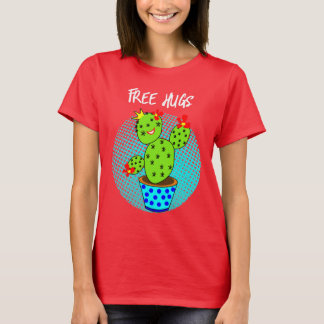 Cute Kawaii Free Hugs Smiling Cactus Plant Graphic T-Shirt