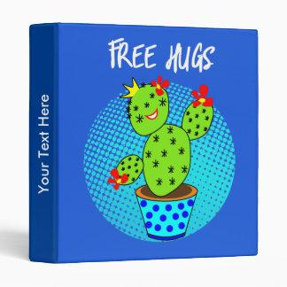 Cute Kawaii Free Hugs Smiling Cactus Plant Graphic Vinyl Binders