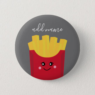 Cute Kawaii French Fries with Custom Name 2 Inch Round Button