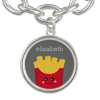 Cute Kawaii French Fries with Custom Name Bracelets
