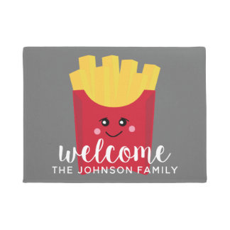 Cute Kawaii French Fries with Custom Name Doormat
