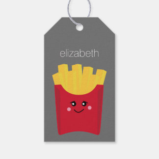 Cute Kawaii French Fries with Custom Name Gift Tags